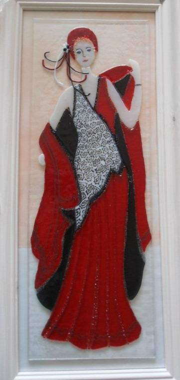 Red-lady-fused-glass-picture