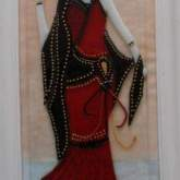 Red-lady-black-shawl-fused-glass-picture